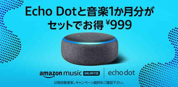 2019.10.23~終了日未定【Echo Dot+個人プラン1ヶ月が999円】