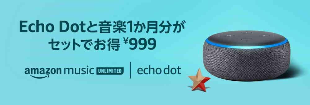 2019.10.23~2019.10.30頃【Echo Dot+個人プラン1ヶ月が999円】
